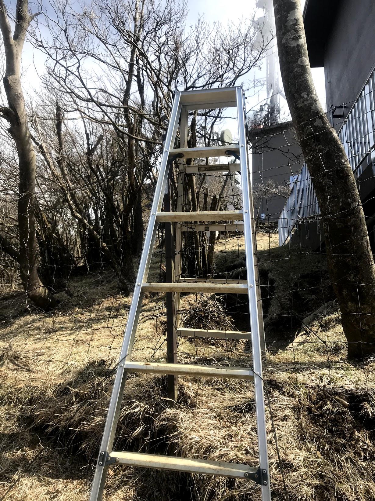 大山途中の梯子