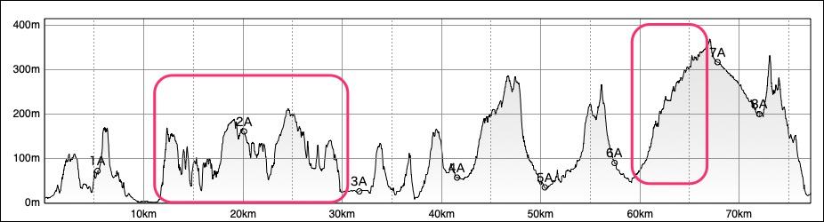 峨山道(がさんどう)トレイルの断面図