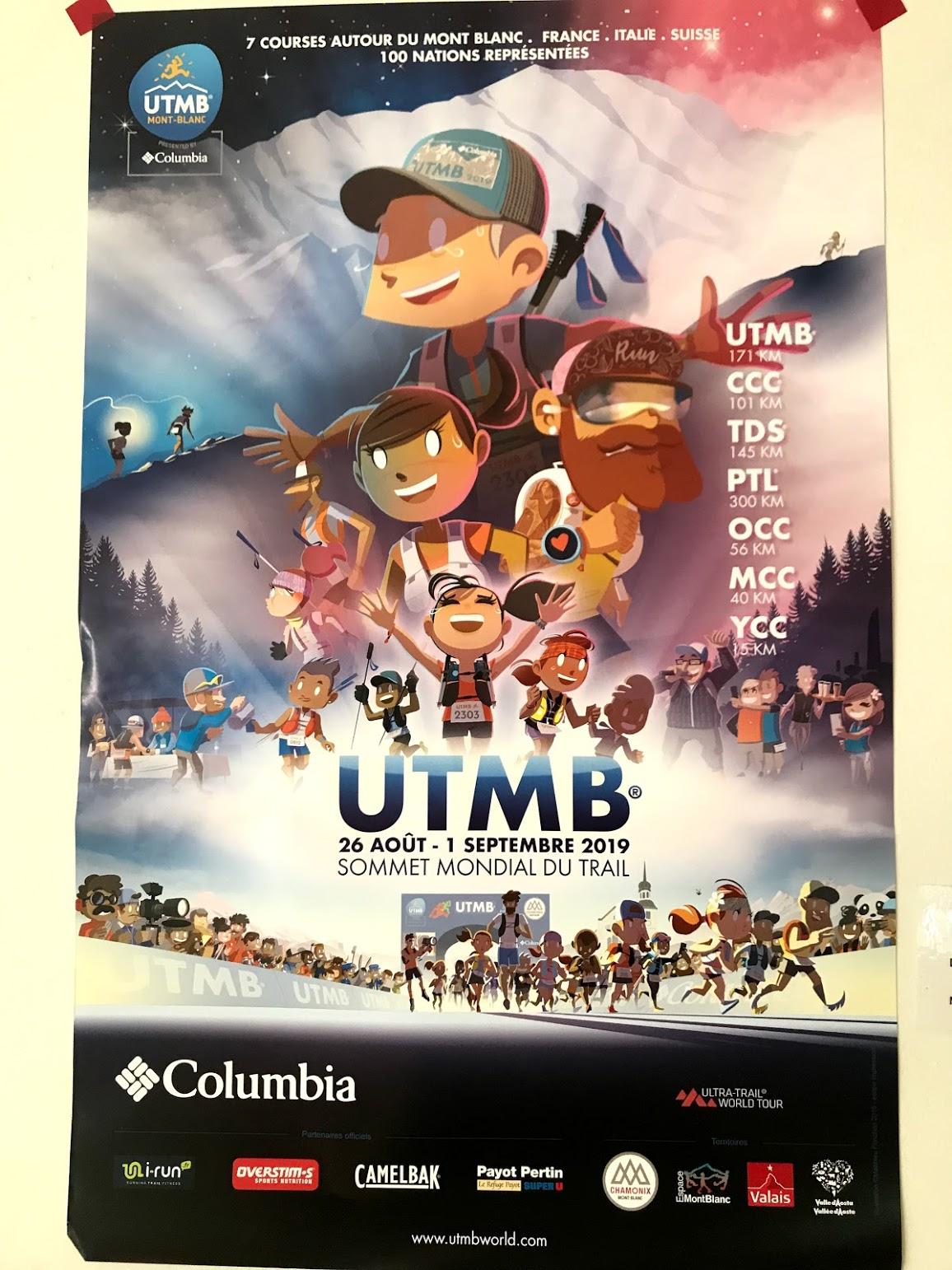UTMBのポスター。フランスのトレラン漫画の漫画家がデザイン