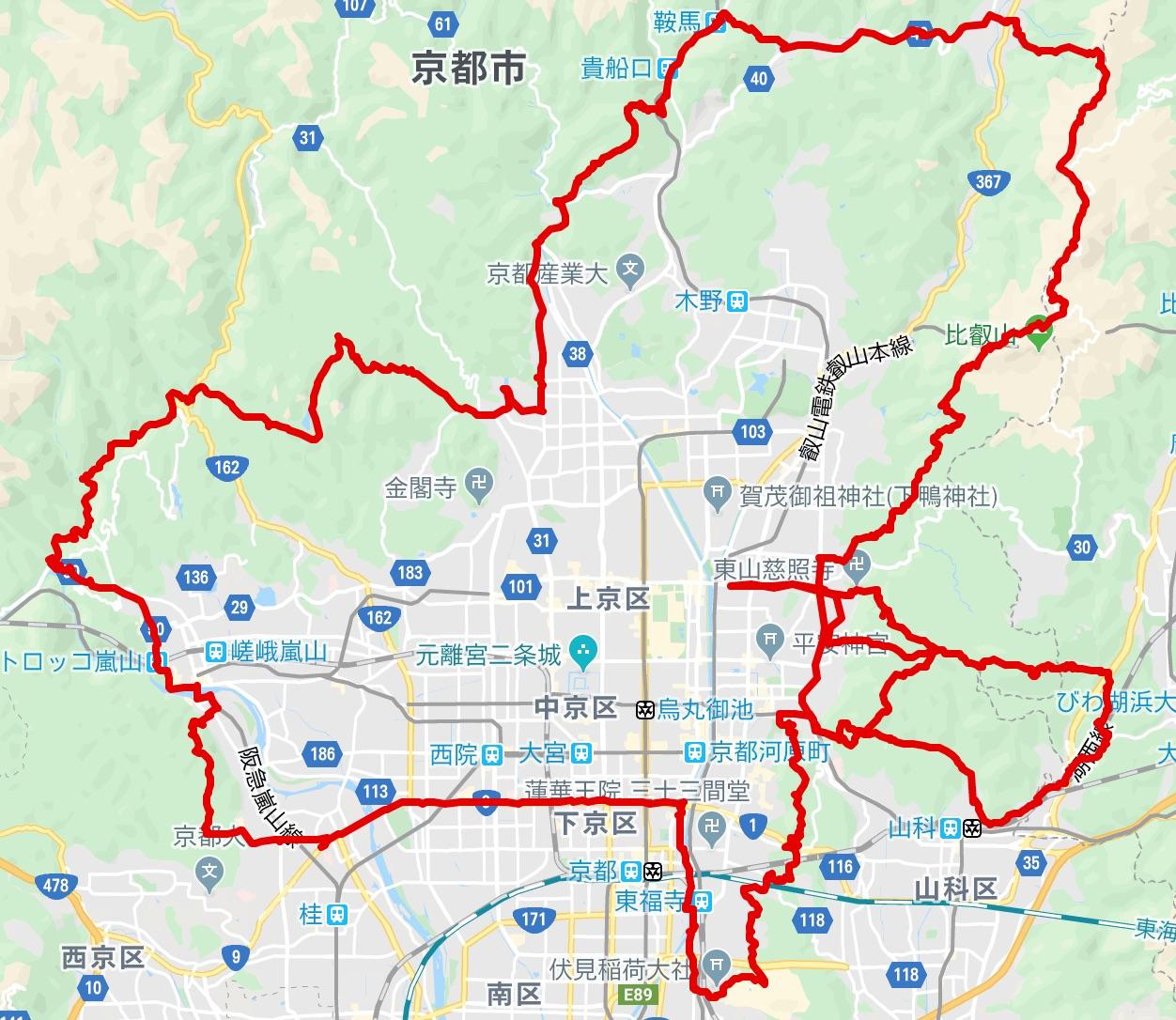 京都ラウンドトレイル地図